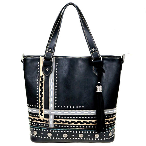 Montana West Studded Saddle Stitch Concealed Carry Tote/Crossbody Purse MW762G-8575