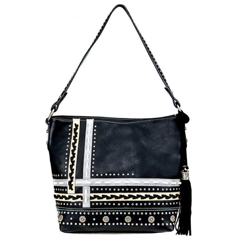 Montana West Studded Saddle Stitch Tassel Concealed Carry Hobo Purse MW762G-918