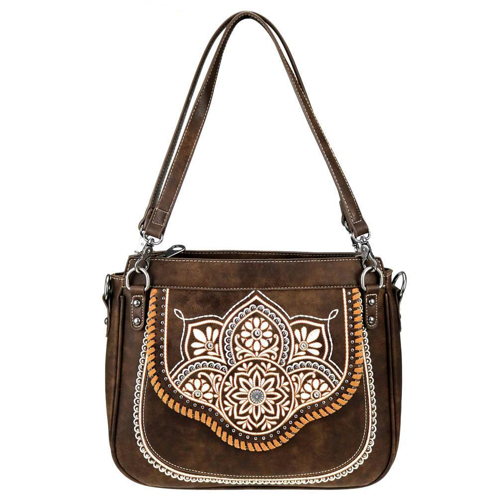 Concealed Carry Interchangeable Tote Bag Crossbody Purse Tribal Flower MW763-8576 - carriesherself.com