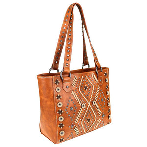 Diamond Tribal Pattern Whip Stitch Studded Concealed Carry Tote MW767G-8317