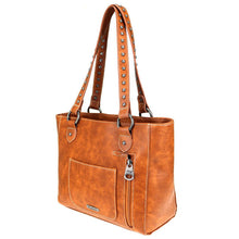 Diamond Tribal Pattern Whip Stitch Studded Concealed Carry Tote MW767G-8317 - carriesherself.com