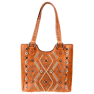 Diamond Aztec Pattern Whip Stitch Studded Concealed Carry Tote MW767G-8577