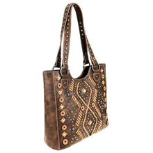 Diamond Aztec Pattern Whip Stitch Studded Concealed Carry Tote MW767G-8577 - carriesherself.com