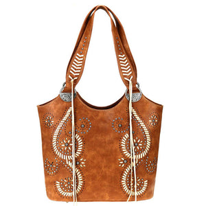 Montana West Cut-Out Whipstitch Swirl Pattern Concealed Carry Tote MW771G-8580