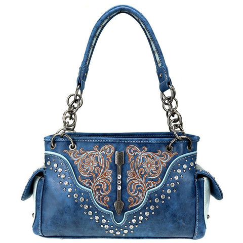 Concealed Carry Tote Floral Embroidered Stud Detail Arrow MW775G-8085