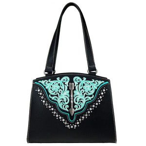 Concealed Carry Tote Floral Embroidered Stud Detail MW775G-8319
