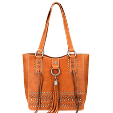 Textured Cris Cross & Stud Pattern Concealed Carry Tote Bag MW777G-8577