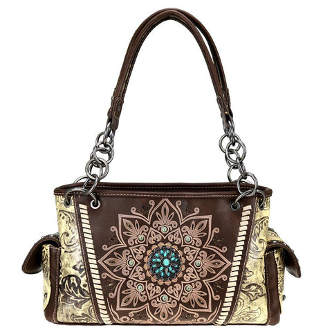 Montana West Tribal Print Concealed Carry Satchel Purse MW784G-8085