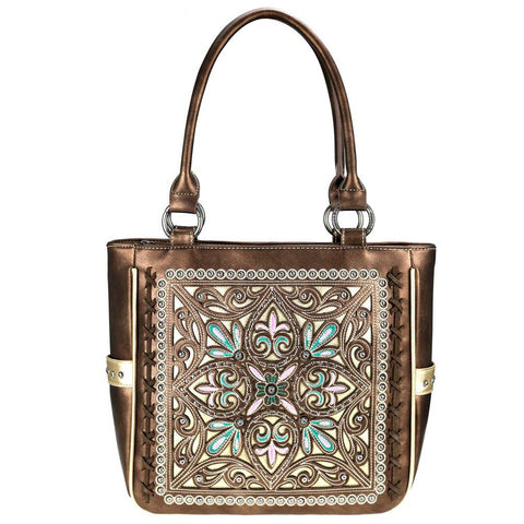 Montana West Silver-Studded Floral Cut-Out Concealed Carry Tote Bag MW786G-8317