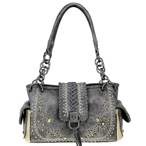 Embroidered Whipstitch Flap Concealed Carry Satchel Purse MW792G-8085 - carriesherself.com