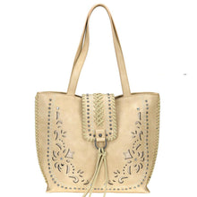 Embroidered Whipstitch Flap Concealed Carry Tote Bag MW792G-8318