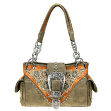 Western Floral Concealed Carry Satchel Purse Buckle Flap MW795G-8085