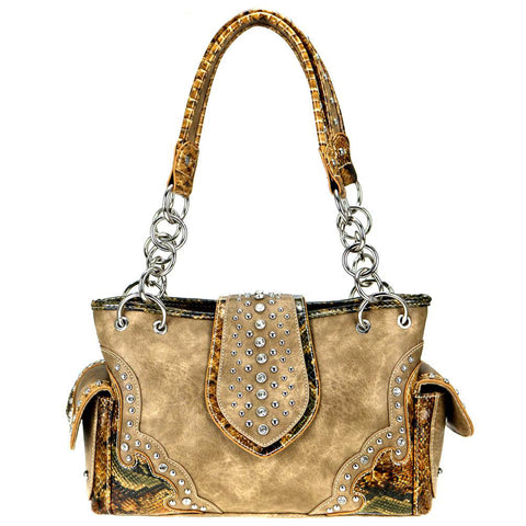 Montana West Snake Print Concealed Carry Satchel Purse MW796G-8085