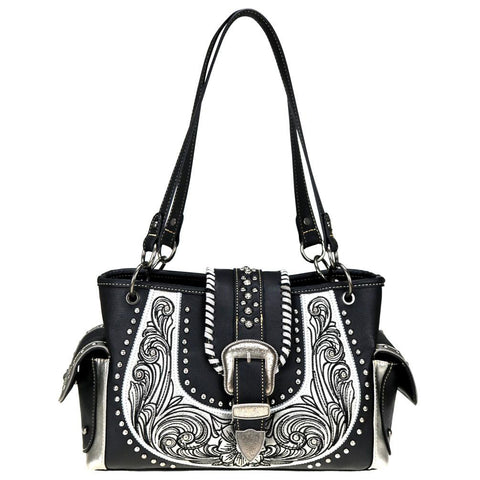 Scallop Pattern Concealed Carry Satchel Purse MW799G-8085