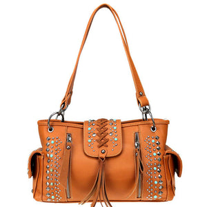 Studded Criss-Cross Stitch Concealed Carry Satchel Purse Tassels MW802G-8085