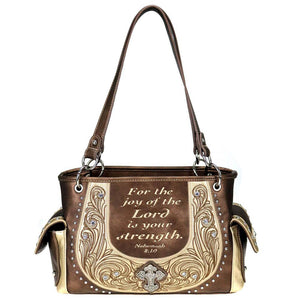 Nehemiah 8:10 Bible Verse Concealed Carry Satchel Purse Montana West
