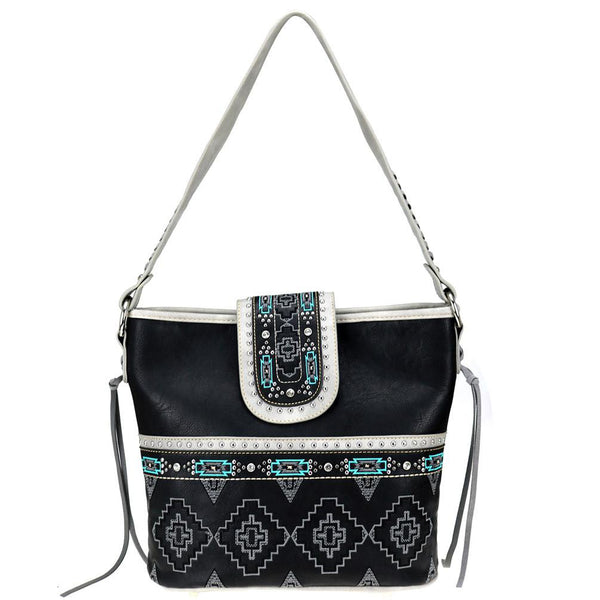 Distressed Color Aztec Concealed Carry Hobo Purse MW808G-918