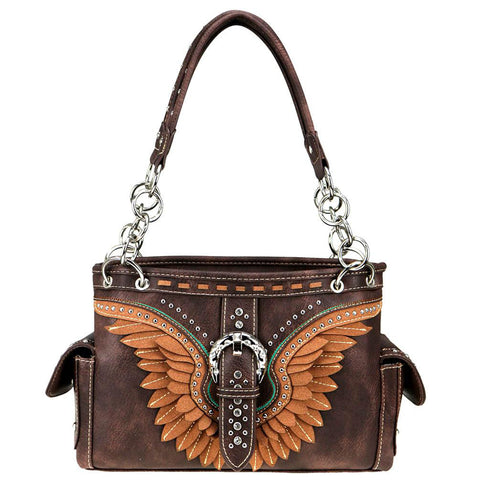 Wing Pattern Concealed Carry Satchel Purse MW814G-8085