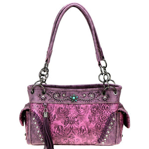 Floral Tooled Montana West Concealed Carry Satchel Purse MW817G-8085
