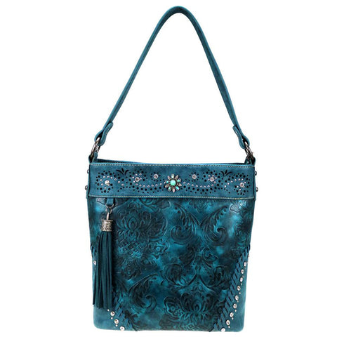Floral Tooled Montana West Concealed Carry Hobo Purse MW817G-918
