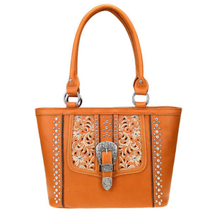 Floral Buckle Concealed Carry Tote Handbag MW820G-8317
