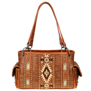 Diamond Aztec Pattern Concealed Carry Satchel MW821G-8085