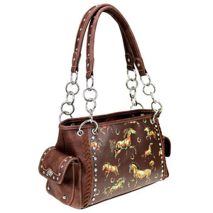 Horse & Horseshoe Themed Concealed Carry Satchel Purse MW843G-8085