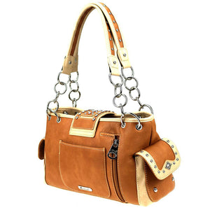 Floral Cut-Out Concealed Carry Satchel Purse MW844G-8085