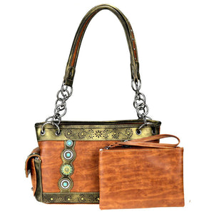 Montana West Stone & Concho Concealed Carry Satchel Purse MW819G-8085