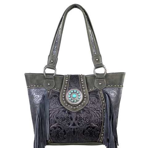 Trinity Ranch Floral Tooled Fringed Concealed Carry Handbag TR04G-8317A - carriesherself.com