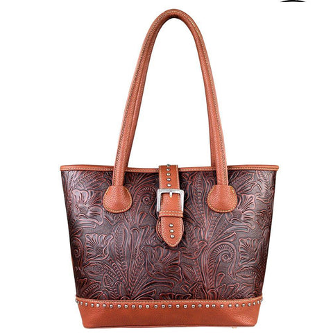 Trinity Ranch Concealed Carry Handbag w/ Genuine Leather Floral Tooling - carriesherself.com