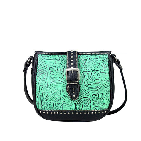 Trinity Ranch Floral-Tooled Buckle Design Concealed Carry Messenger Bag TR24G-L8360 - carriesherself.com