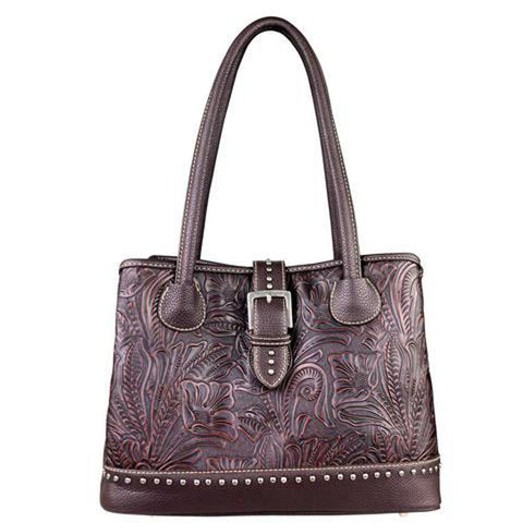 Trinity Ranch Handbag w/ Genuine Leather Floral Tooled Pattern TR24G-L8563 - carriesherself.com