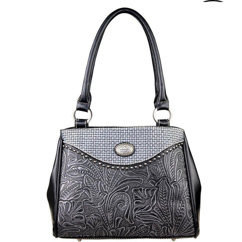 Trinity Ranch Genuine Basket Weave Tooling Leather Floral & Leaf Pattern Concealed Carry Handbag - carriesherself.com