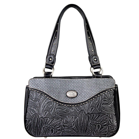 3-Texture Genuine Leather-Tooled Trinity Ranch Concealed Carry Handbag TR26G-L8247 - carriesherself.com