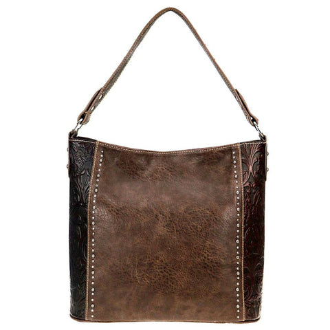 Concealed Carry Hobo Purse Leather Floral Tooling Vertical Stud Pattern TR68G-121 - carriesherself.com