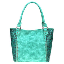 Concealed Carry Tote Bag Leather Floral Tooling Vertical Stud Pattern TR68G-8259 - carriesherself.com
