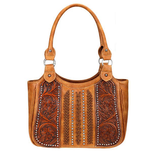Trinity Ranch Leather-Tooled Cross Stitch Whipstitch Concealed Carry Tote Bag TR70G-8110 - carriesherself.com