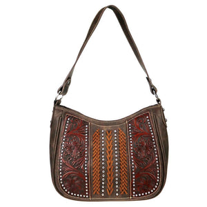 TR70G-918 Trinity Ranch Tooled Leather Collection Concealed Carry Hobo - carriesherself.com