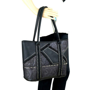 Trinity Ranch Authentic Leather-Tooled Concealed Carry Tote Bag TR74G-8317 - carriesherself.com