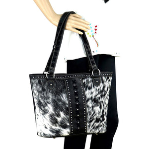 Trinity Ranch Hair-On Leather Studded Tote Bag TR76G-8317