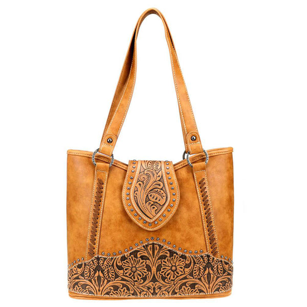 Trinity Ranch Leather Floral-Tooled Concealed Carry Tote TR81G-8317