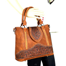 Trinity Ranch Leather Floral-Tooled Concealed Carry Satchel/Crossbody Purse TR81G-8567