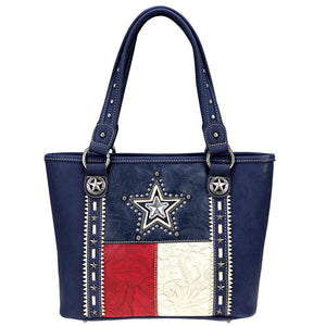 Texas Flag Star Cut-Out Floral Tooled Background Concealed Carry Tote Bag TX07G-8317 - carriesherself.com