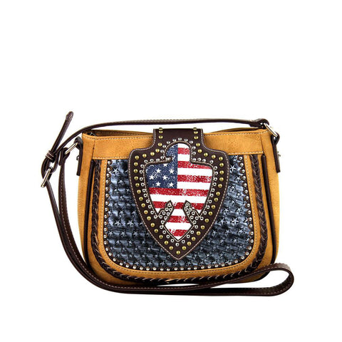 Patriotic Concealed Carry Messenger Bag w/ Studded Eagle Flag Flap - carriesherself.com