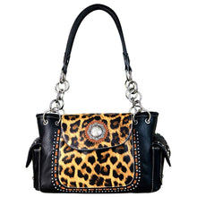 Leopard Print Concealed Carry Satchel Purse Concho Flap - carriesherself.com