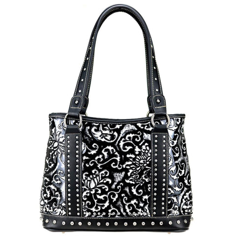 Floral Studded Montana West Concealed Carry Tote Bag MW824G-8036