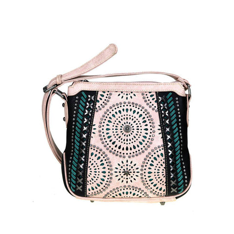 Montana West Concealed Carry Crossbody Purse Cut-Out Pattern Silver Studs Mini Conchos MW354G-8395 - carriesherself.com