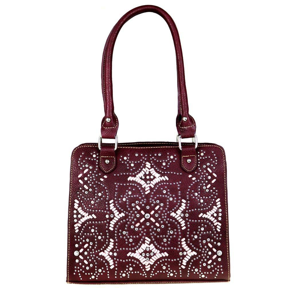 Montana West Saddle Stitch Pattern Silver Crystal Studded Concealed Tote Bag MW475G-8566 - carriesherself.com