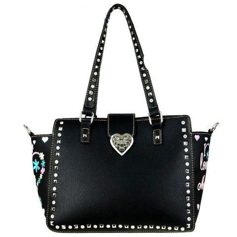 "MW505G-8250 Montana West Heart Collection ""I Love Mom""Concealed Handgun Trapezoid Tote - carriesherself.com"